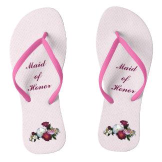 Antique Roses Wedding Maid of Honor Flip Flops