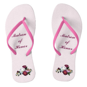 d94fd69e99f3c Antique Roses Wedding Matron of Honor Flip Flops