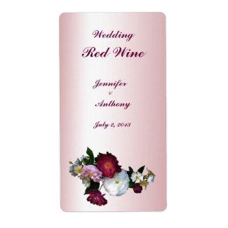 Antique Roses Wedding Wine Label