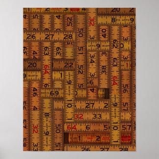 Antique Ruler Measured Pattern Poster