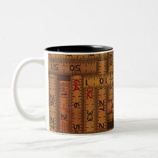 Antique Ruler Measured Pattern Two-Tone Coffee Mug