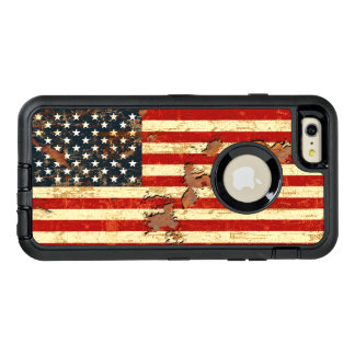 Antique Rusted American Flag USA OtterBox Defender iPhone Case