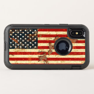 Antique Rusted American Flag USA OtterBox Defender iPhone X Case