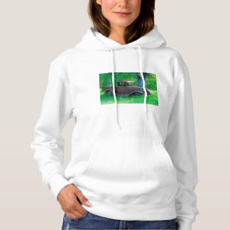 Antique rusted truck in a meadow hoodie