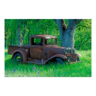 Antique rusted truck in a meadow poster