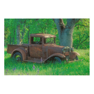 Antique rusted truck in a meadow wood print