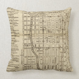 Antique Rustic Map Of Downtown Chicago Illinois Throw Pillow
