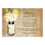 "Antique Rustic Mason Jar Daisies Wildflowers 3.5"" X 5"" Invitation Card"