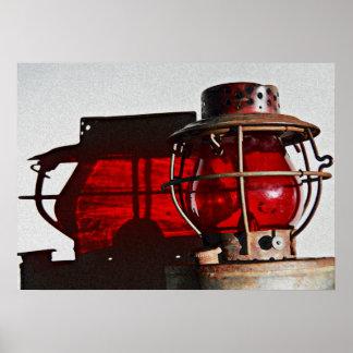 Antique Rustic Railroad Lantern Art Poster