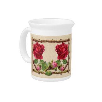 Antique Rustic Roses Vintage Flower Beverage Pitcher