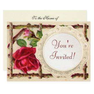 Antique Rustic Roses Vintage Flower Card