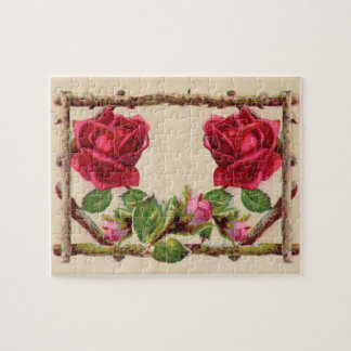 Antique Rustic Roses Vintage Flower Jigsaw Puzzle