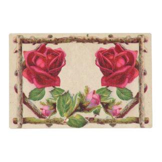 Antique Rustic Roses Vintage Flower Placemat