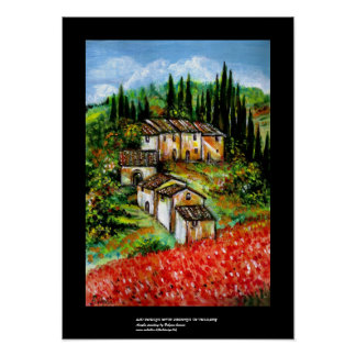 ANTIQUE RUSTIC VILLAGE IN TUSCANY POSTER