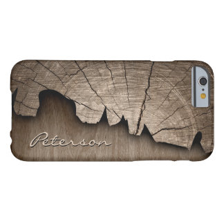 Antique Rustic Wood Grain Look - Monogram Name Barely There iPhone 6 Case