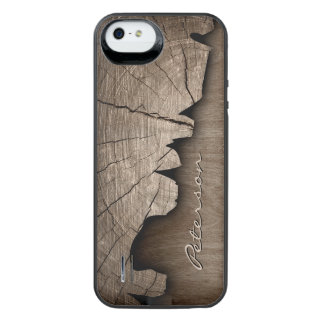 Antique Rustic Wood Grain Look - Monogram Name Uncommon Power Gallery™ iPhone 5 Battery Case
