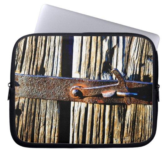 Antique Rustic Wood & Iron Metal Latch Photo Image Laptop Sleeve