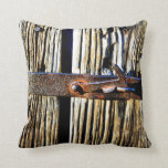 Antique Rustic Wood & Iron Metal Latch Photo Image Throw Pillow