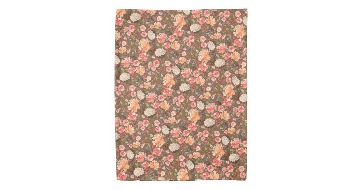 antique rusty peach watercolor floral on any color duvet cover zazzle com zazzle
