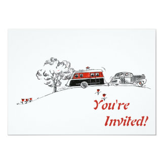 Antique RV Camper and Car Drawing 5x7 Paper Invitation Card