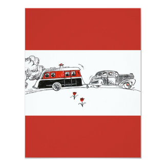 Antique RV Camper and Car Drawing Card
