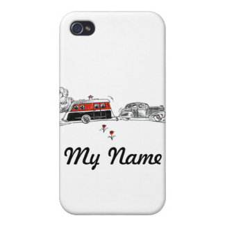 Antique RV Camper and Car Drawing Cases For iPhone 4