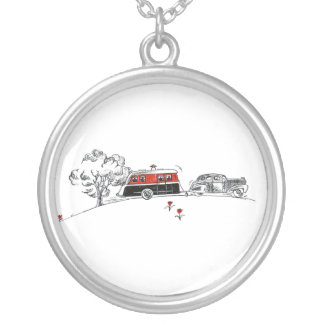 Antique RV Camper and Car Drawing Round Pendant Necklace
