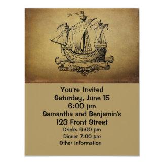 Antique Sailing Ship 4.25x5.5 Paper Invitation Card