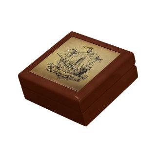Antique Sailing Ship Jewelry Box