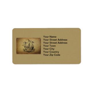 Antique Sailing Ship Label