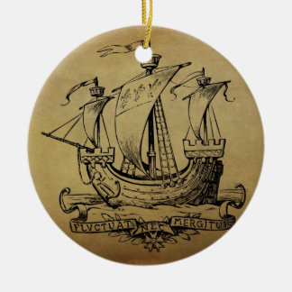Antique Sailing Ship Double-Sided Ceramic Round Christmas Ornament