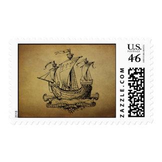 Antique Sailing Ship Postage Stamps