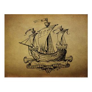 Antique Sailing Ship Postcard