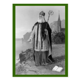Antique Saint Patrick, the Snakes and Bible Postcard