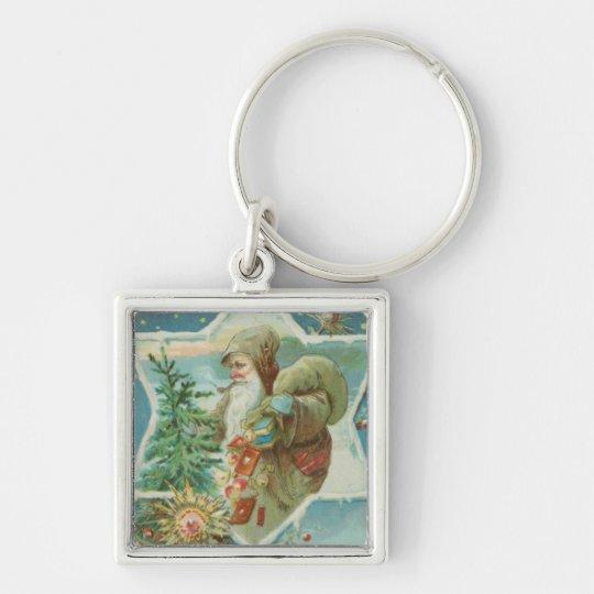 Antique Santa Claus Star Keychain