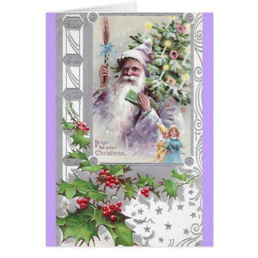 Antique Santa in Purple Coat with Xmas Tree Card