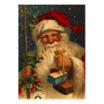 ANTIQUE SANTA IN SNOW STORM WITH GIFT TAG CARD BUSINESS CARD