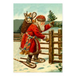 ANTIQUE SANTA IN SNOWSHOES GIFTS TAG CARD BUSINESS CARD