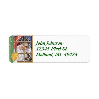 Antique Santa Monitoring Behavior Address Label