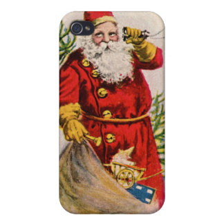 Antique Santa on the phone Cover For iPhone 4
