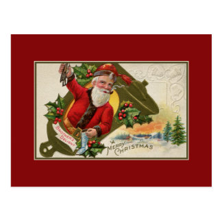 Antique Santa with pipe, Merry Christmas Postcard