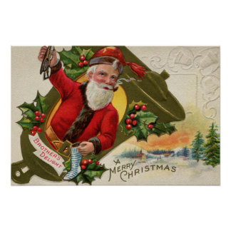 Antique Santa with pipe, Merry Christmas Poster