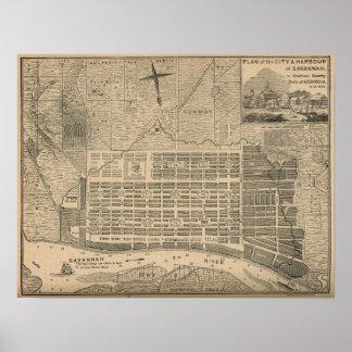Antique Savannah City Plan Poster