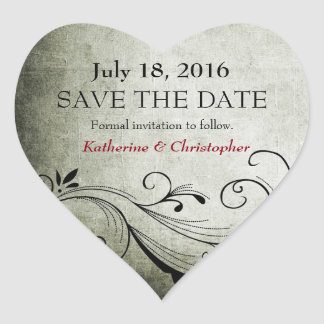 Antique Save-the-Date Heart Sticker