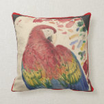 Antique Scarlet Macaw Parrot Drawing on Pillow