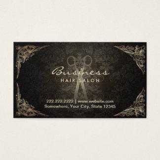 Antique Scissor Dark Damask Hair Salon Business Card