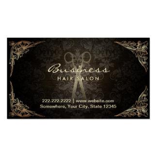 Antique Scissor Dark Damask Hair Salon Double-Sided Standard Business Cards (Pack Of 100)
