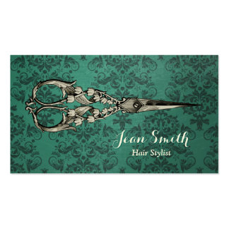 Antique Scissor Green Damask Hair Stylist Double-Sided Standard Business Cards (Pack Of 100)