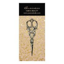 Antique Scissor Vintage Gold Leopard Hair Salon Rack Card