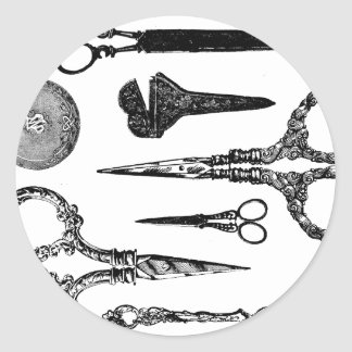 Antique Scissors Vignette Classic Round Sticker